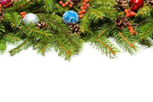 Фотографии Новый год Белый фон Ветки Шарики Шаблон поздравительной открытки