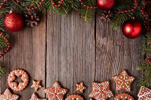 Картинки Новый год Печенье Доски Дизайн Шарики Шаблон поздравительной открытки Продукты питания