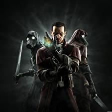 Обои Dishonored Воители Трое 3 Противогаз Мечи Капюшон Игры Фэнтези фото