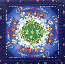 Обои Праздники Новый год Почтовая марка Русские фото