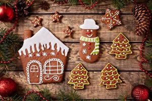 Обои Новый год Печенье Доски Дизайн Шарики Шишки Пища