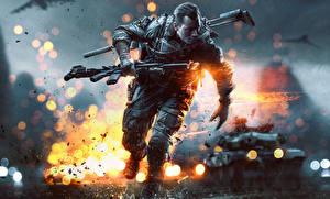 Картинка Battlefield 4 Солдаты Автоматы Бег Армия