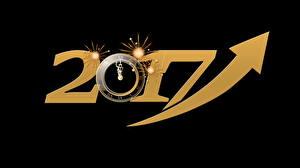 Обои Новый год Часы Черный фон 2017 фото
