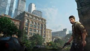 Обои The Last of Us Мужчина Здания Пистолеты Joel компьютерная игра