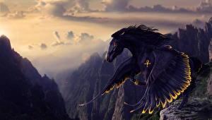 Обои Пегас Горы Лошади Крылья Черный Фэнтези фото