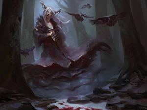 Картинка Сверхъестественные существа Вороны Готика Фэнтези Дерева Фэнтези Девушки
