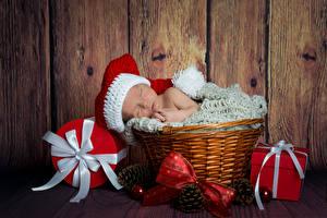 Фотография Рождество Доски Младенца Спит Корзинка В шапке Подарок Шишки Бантик Дети