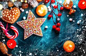 Картинки Рождество Печенье Сладости Свечи Звездочки