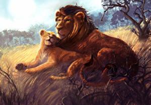 Обои Большие кошки Львы Рисованные Двое Животные фото