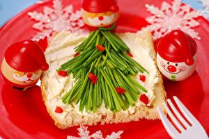 Фото Новый год Бутерброды Дизайн Снеговики Еда