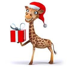 Обои Новый год Жирафы Белый фон Подарки Шапки Улыбка