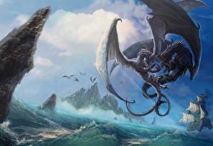 Обои Драконы Битвы Крылья Драка Фэнтези фото
