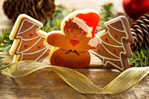 Фото Новый год Печенье Дизайн Елка Снеговики Еда