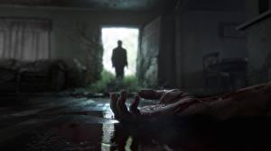 Фотографии The Last of Us 2 Рука Крови Дверь Силуэт Открытая дверь Игры