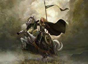Фотография Властелин колец Воители Рисованные Лошади Броня Плащ Щит Копья The Riders of Rohan Фильмы Фэнтези Девушки