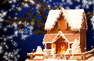 Обои Новый год Выпечка Дома Пряничный домик Снежинки Дизайн Еда