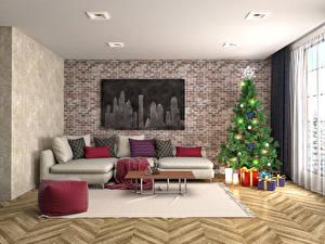 Обои Новый год Интерьер Диван Елка Подарки 3D Графика фото