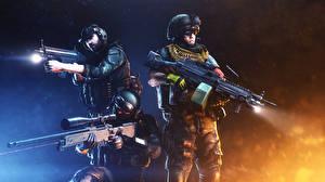Фото Battlefield Солдаты Автоматы Пулеметы Снайперская винтовка Военная каска Трое 3 Снайперы 3 Игры 3D_Графика