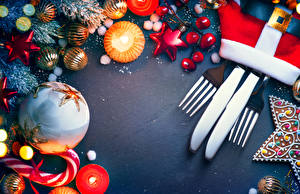 Обои Новый год Свечи Нож Шарики Вилка фото