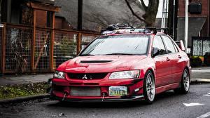 Фото Mitsubishi Красный Lancer Evolution 9 Машины