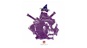 Картинка DOTA 2 Alchemist Белый фон Силуэты Игры Фэнтези
