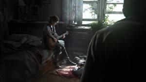 Фотографии The Last of Us 2 Гитара Сидит Кровь Ellie, Joel Игры Девушки