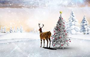 Обои Зима Новый год Олени Снег Елка Ель Шарики Природа фото