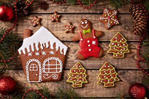 Обои Новый год Печенье Доски Дизайн Шишки Ветки Шарики Еда