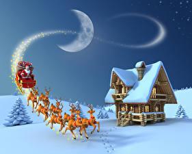 Картинки Зима Рождество Дома Олени Небо Лунный серп Снега Санта-Клаус Луны Сани Природа