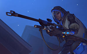Обои Снайперская винтовка Воины Overwatch Снайперы Ana Фэнтези 3D_Графика