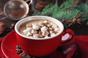 Обои Какао напиток Напитки Маршмэллоу Чашка Блюдце Еда фото