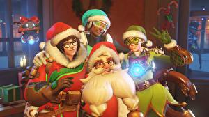 Картинки Overwatch Новый год Санта-Клаус Шапки Очки Фэнтези Девушки 3D_Графика