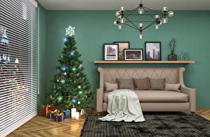 Обои Новый год Интерьер Елка Диван Люстра Подарки Подушки Жалюзи фото