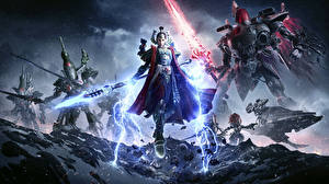 Обои Warhammer 40000 Dawn of War Воители Мечи Копья Робот 3 Игры Девушки Фэнтези