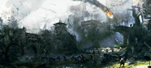 Фотографии Битвы For Honor Воители Замок Courtyard's Battle компьютерная игра Фэнтези