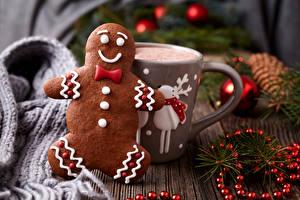 Картинки Новый год Печенье Напитки Какао напиток Шарики Кружка