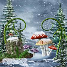 Картинки Зима Грибы природа Снег Ель Пень