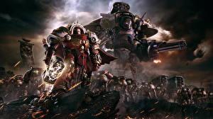 Картинка Warhammer 40000 Dawn of War Воины Пулеметы Боевой молот Доспехи 3 Игры Фэнтези