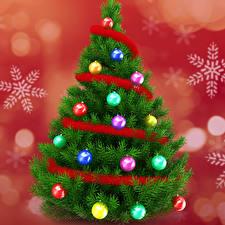 Картинка Рождество Новогодняя ёлка Шарики Снежинки