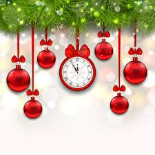 Обои Рождество Часы Гирлянда Шарики Бантик