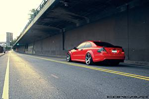 Фотографии Дороги Mercedes-Benz Красный Асфальт vossen CLK63 AMG Black Series Автомобили