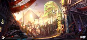 Фото Overwatch Фантастический мир Дома Пирамида Игры Фэнтези