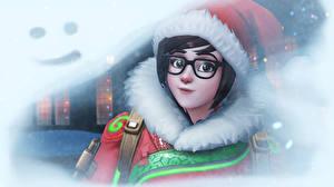 Обои Overwatch Новый год Очки Шапки Взгляд Winter Wonderland Игры Девушки фото