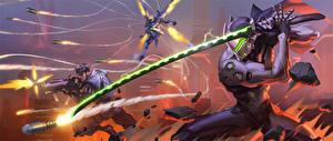 Обои Overwatch Воители Сражения Автоматы Катана С саблей Стреляет компьютерная игра