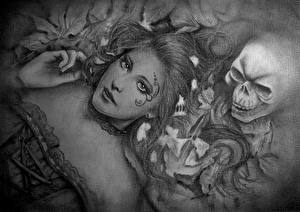 Фото Готические Черепа Рисованные Черно белое Взгляд Фантастика Девушки