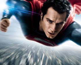 Обои Супермен герой Мужчины Henry Cavill Полет Man of Steel Фильмы фото
