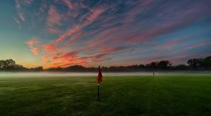Фотография Небо Утро Поля Гольф Туман Облака Природа