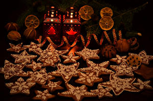 Картинки Новый год Выпечка Печенье Дизайн Звездочки Еда