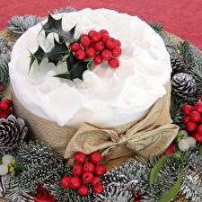 Картинки Рождество Торты Ягоды Шишки Еда