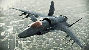 Картинки Самолеты Истребители Ace Combat ASF-X Shinden II Игры Авиация